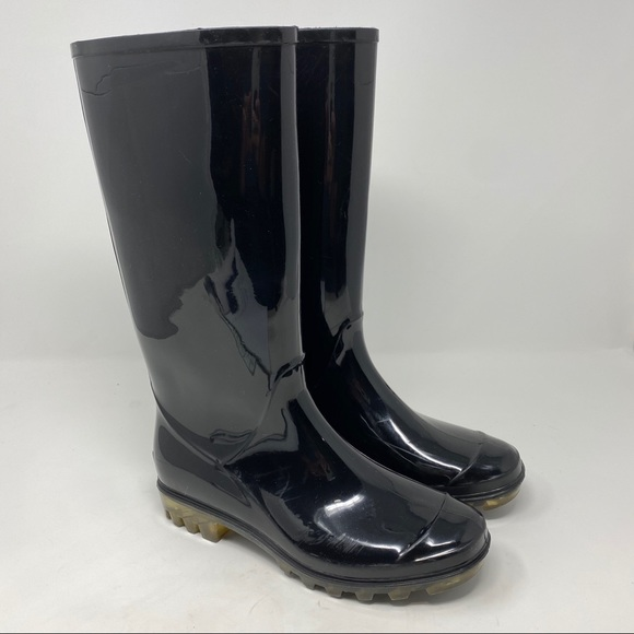 COACH Rubber Rain Boots Glossy Black Size 6